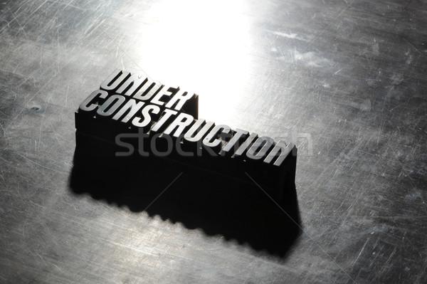 Kép építkezés felirat fémes textúra terv Stock fotó © stokkete