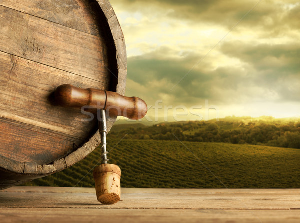 Vino barril corcho sacacorchos Foto stock © stokkete
