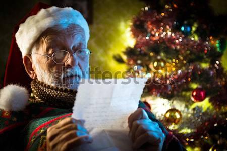 Szexi ajándék derűs rossz mikulás tart Stock fotó © stokkete