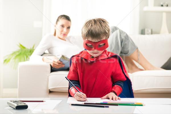 Kreatív szuperhős aranyos fiú rajz anya Stock fotó © stokkete