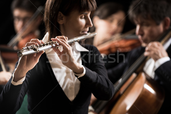 Classical music concert: flutist close-up Stock photo © stokkete