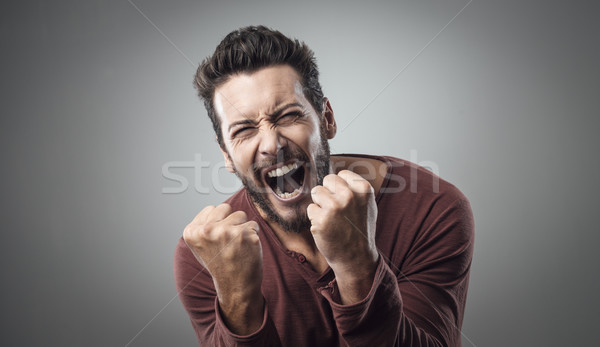 Angry man shouting out loud Stock photo © stokkete
