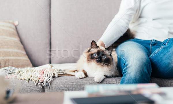 Woman cuddling her cat Stock photo © stokkete