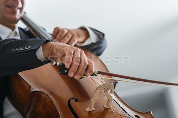 Profi csellista előad klasszikus zene cselló játékos Stock fotó © stokkete