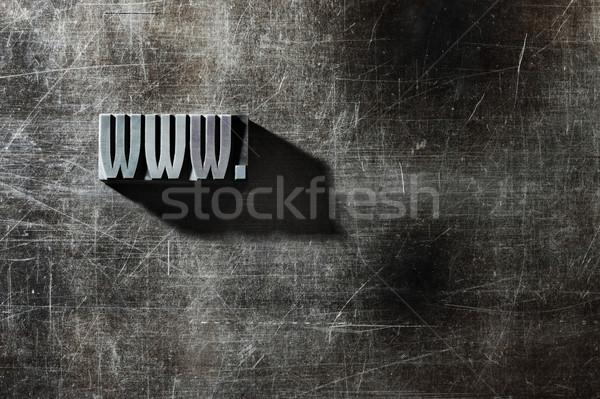 Oude metalen brieven internet symbool www Stockfoto © stokkete