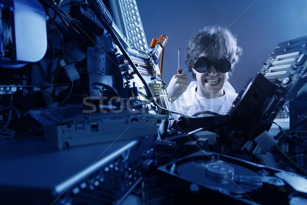 Mad IT worker Stock photo © stokkete