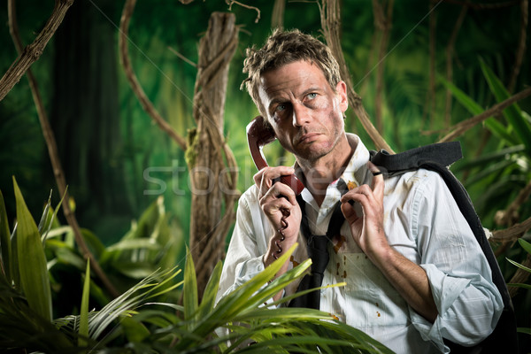 Lost businessman having a phone call in the jungle. Stock photo © stokkete
