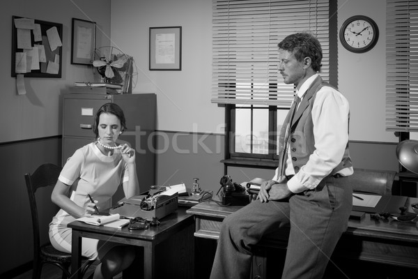 1950s businessman and secretary working in the office Stock photo © stokkete