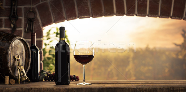 Stock photo: Red wine tasting in the cellar