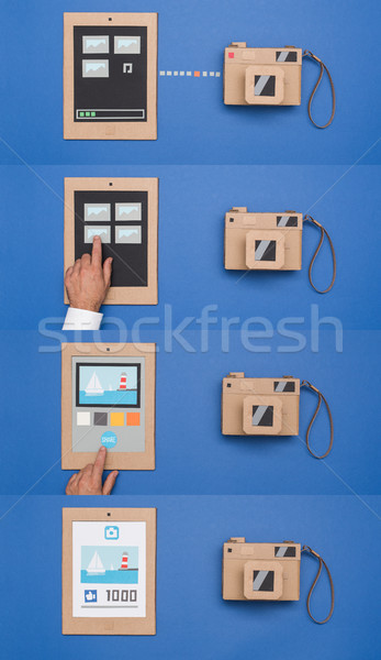 Photo importing from a camera and file sharing online Stock photo © stokkete