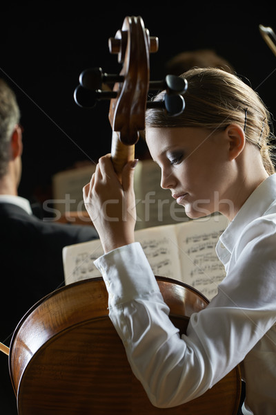 Stock photo: A cellist in concert
