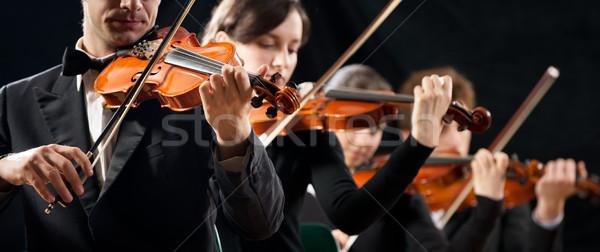 バイオリン オーケストラ ステージ 暗い アーティスト ストックフォト © stokkete