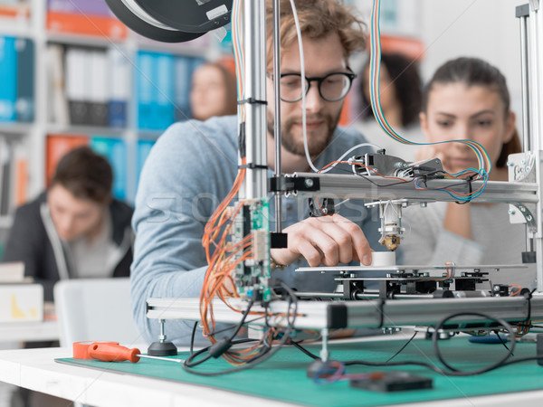 Students using a 3D printer Stock photo © stokkete