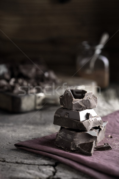 темный шоколад частей салфетку Сток-фото © stokkete