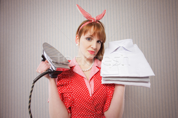 Háziasszony retro vasaló női ruha fotózás Stock fotó © stokkete