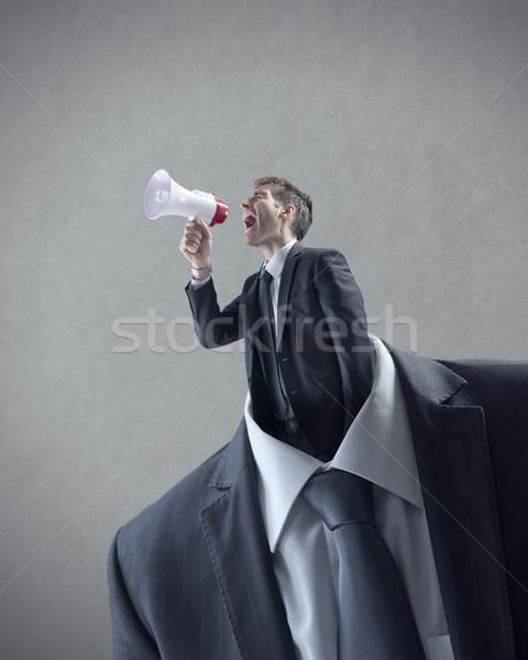 üzlet kommunikáció üzletember kiált megafon hely Stock fotó © stokkete