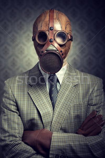 Bağbozumu işadamı gaz maskesi Retro duvar kağıdı Stok fotoğraf © stokkete