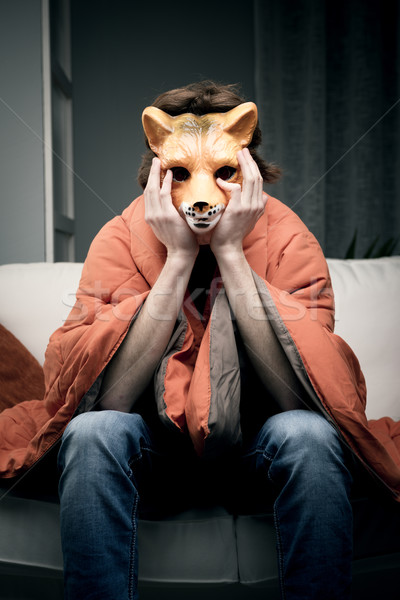Man with fox mask Stock photo © stokkete