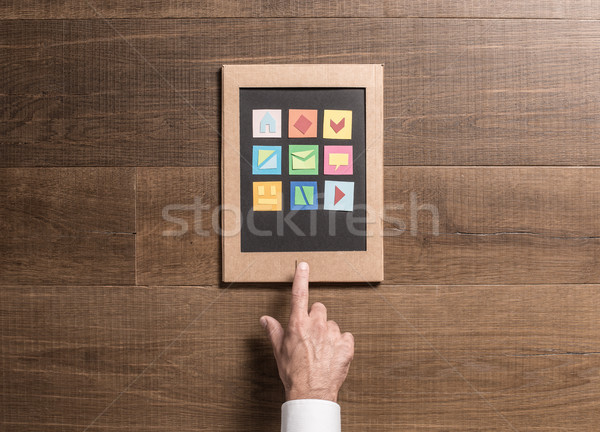 картона таблетка человека Creative бумаги Сток-фото © stokkete