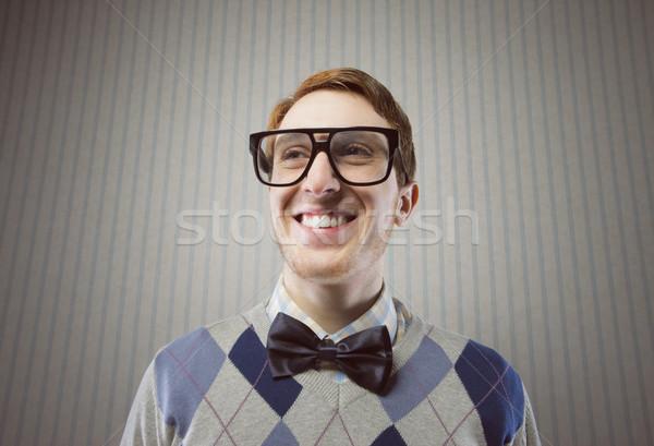 Foto stock: Nerd · estudante · engraçado · rosto · sorridente · óculos