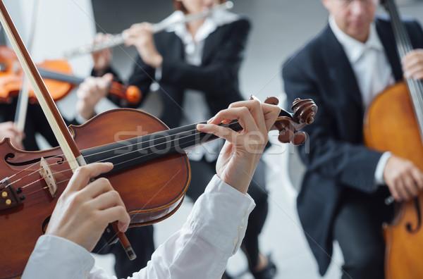 Klasszikus zenekar fonal részleg előad klasszikus zene Stock fotó © stokkete