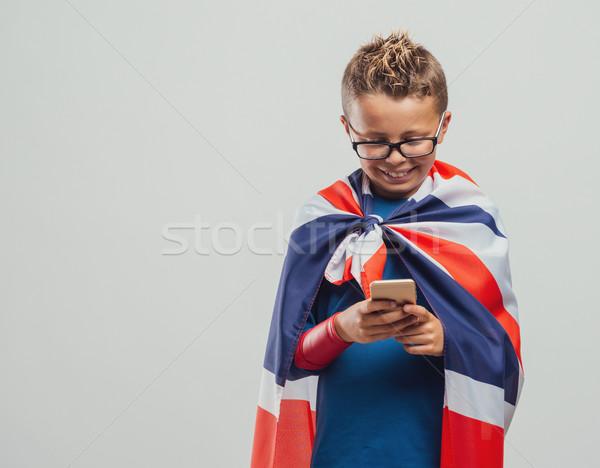 Komik İngilizler süper kahraman sevimli gülen Stok fotoğraf © stokkete