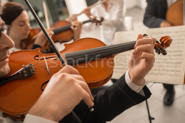 Violinist performing with music sheet Stock photo © stokkete