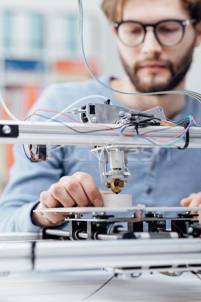 Engineering 3D afdrukken student printer lab Stockfoto © stokkete