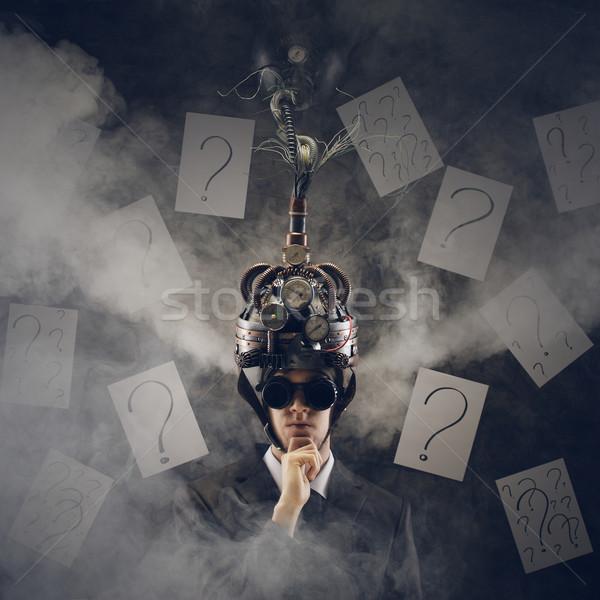 Business oplossingen man helm ideeën Stockfoto © stokkete