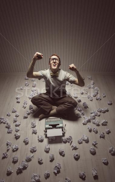 Boldog diák sikít izgatott megállapítás megoldás Stock fotó © stokkete