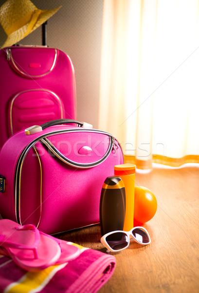 Zomer roze geval zonnebril Stockfoto © stokkete