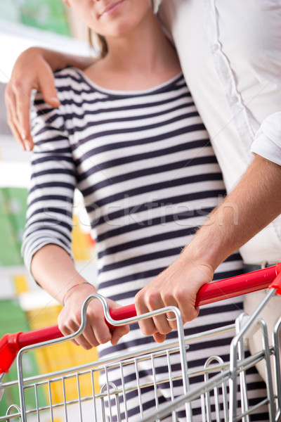 Couple at supermarket hands close-up Stock photo © stokkete