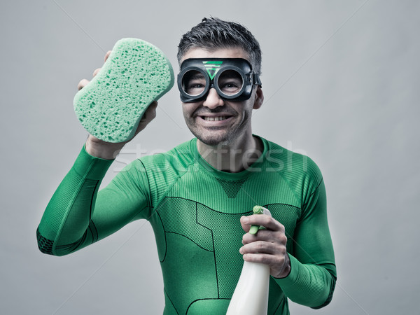 Superhero cleaning with sponge and detergent Stock photo © stokkete