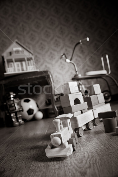 Ahşap tren oda bağbozumu renkli oyuncaklar Stok fotoğraf © stokkete