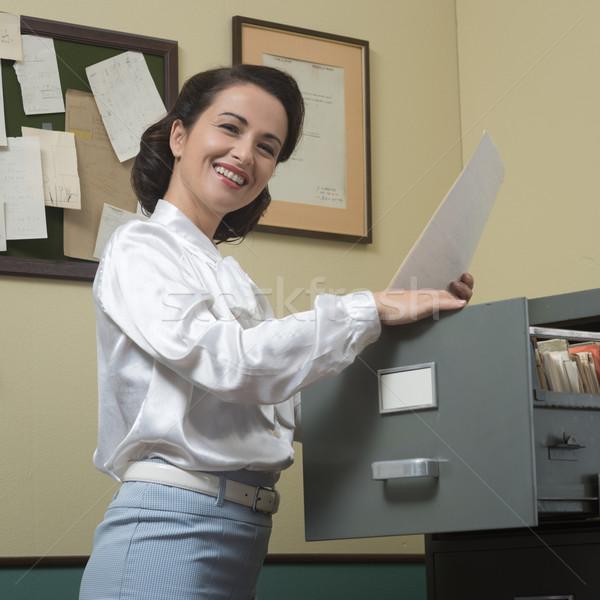 Cheerful secretary at work Stock photo © stokkete