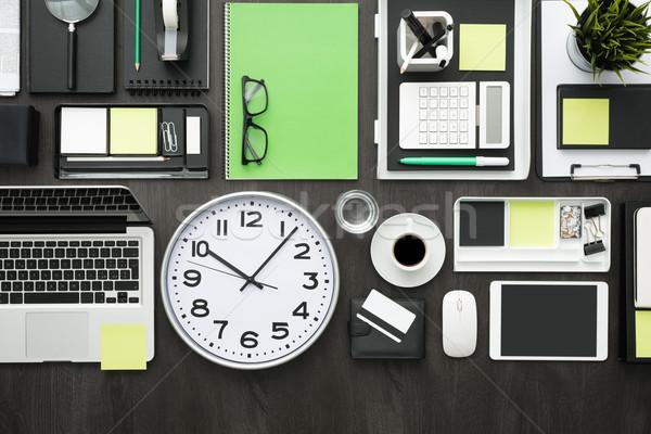 üzlet produktivitás vállalati asztali laptop iroda Stock fotó © stokkete