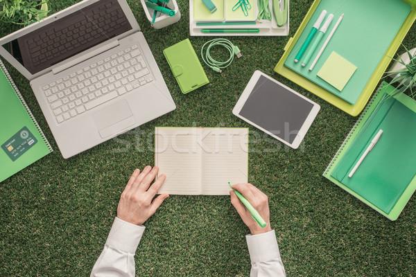 üzlet fenntarthatóság laptop irodaszerek fű üzletember Stock fotó © stokkete