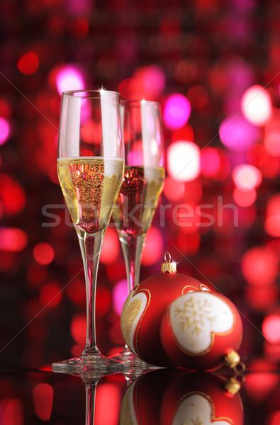 Viering champagne bril christmas decoraties partij Stockfoto © stokkete
