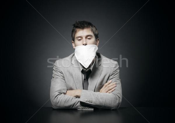 Cenzúra fiatal üzletember férfi ül fiatalember Stock fotó © stokkete
