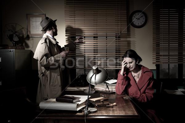 Dedektif kötü haber ayakta ofis genç üzücü Stok fotoğraf © stokkete