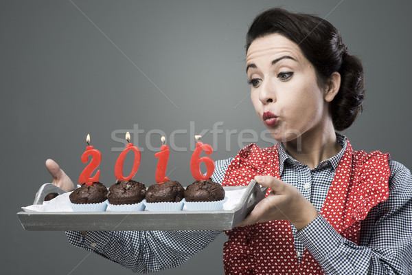 Happy New Year 2006 with muffins Stock photo © stokkete