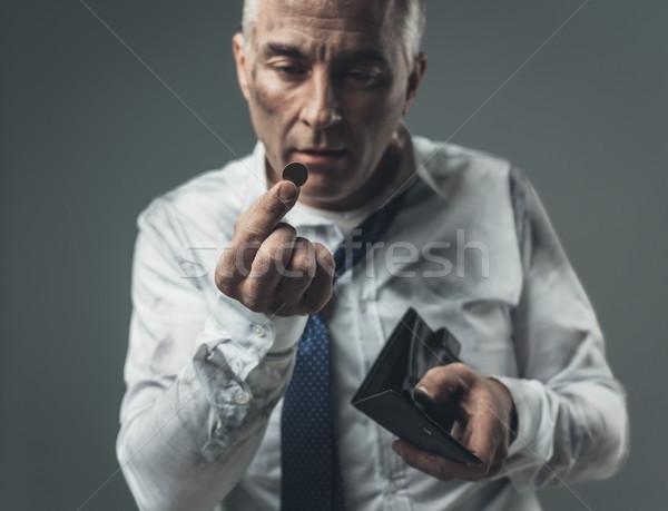 Stok fotoğraf: Işsiz · işadamı · boş · cüzdan · dağınık · kurumsal
