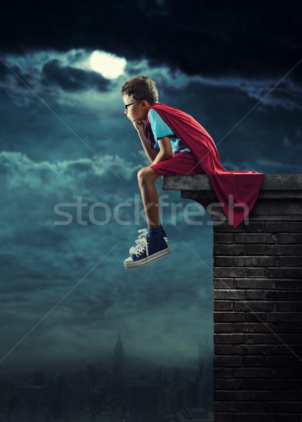 Mały superhero młody chłopak marzenia noc maska Zdjęcia stock © stokkete
