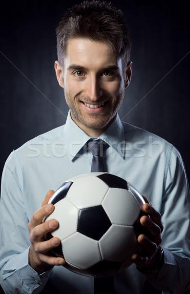 ビジネスマン サッカーボール 小さな 魅力的な 笑みを浮かべて ストックフォト © stokkete