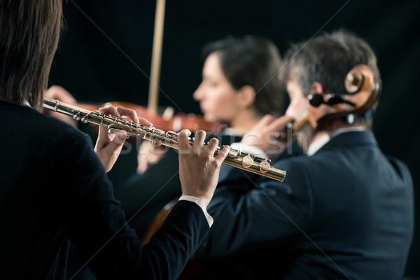 Symphony orchestra performance: flutist close-up Stock photo © stokkete