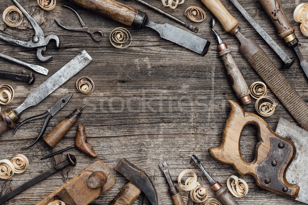 Old carpentry tools on the workbench Stock photo © stokkete