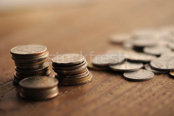 Eski madeni para ahşap masa sığ iş Stok fotoğraf © stokkete
