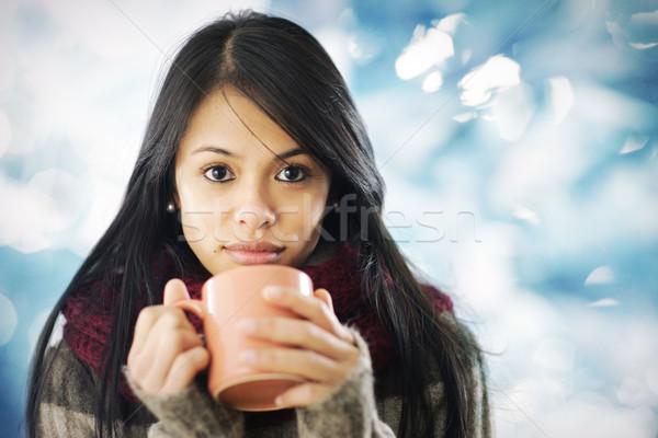 Hermosa niña ropa de abrigo hermosa caliente Foto stock © stokkete