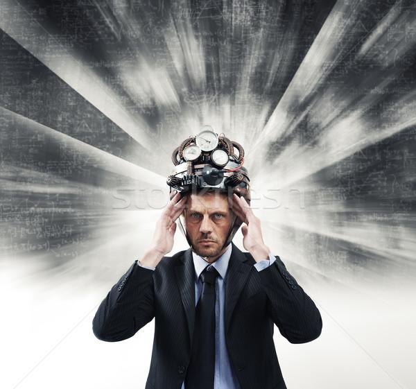 Creative businessman with steampunk helmet Stock photo © stokkete