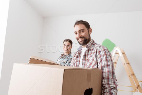 移動 年輕 微笑 情侶 商業照片 © stokkete